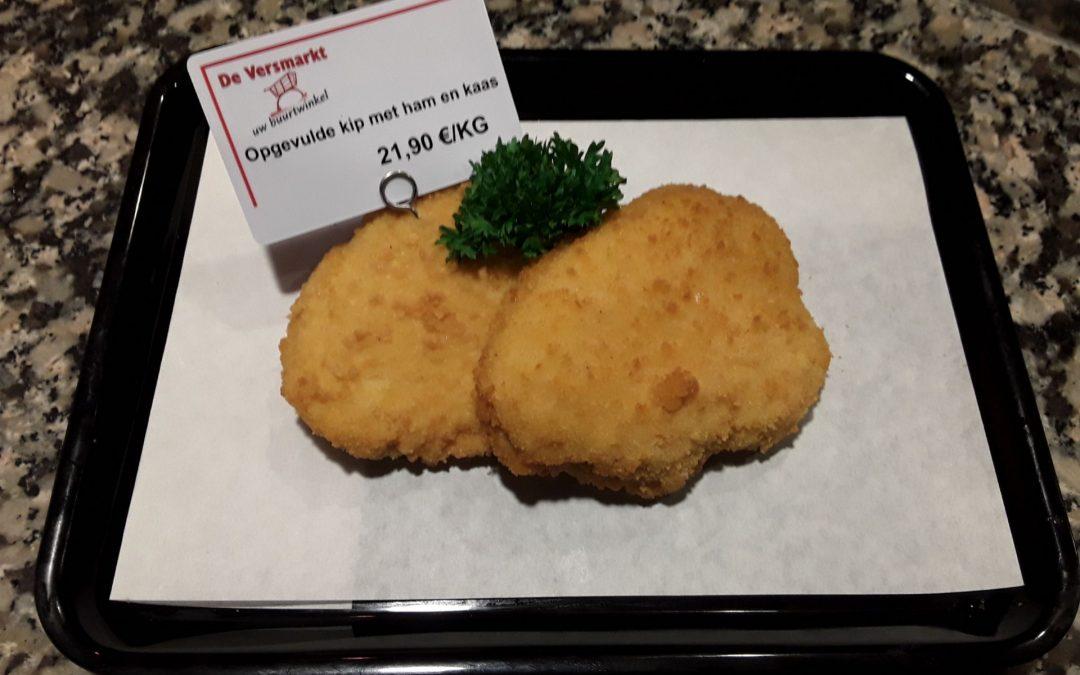 Opgevulde kip met haam en kaas